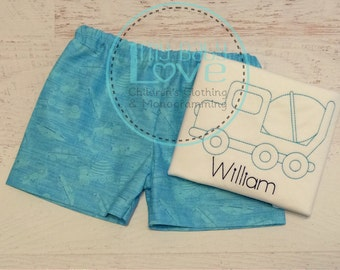 Vintage Truck Outfit - Cement Truck Vintage Embroidery - Truck Outfit - Toddler Boy Clothing Set - Truck Shorts - Boy Shorts - Baby Boy