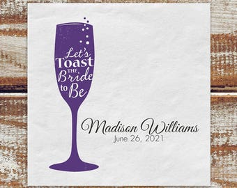 Bridal Shower Personalized Napkins Purple And Black, Personalized Bridal Shower Napkins, Cocktail Napkins For Bridal Shower, Paper Napkins