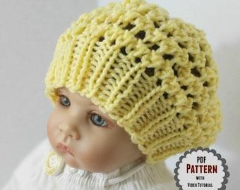 Loom Knit Baby Hat PATTERN with Video Tutorial Three Step Stitch Beanie