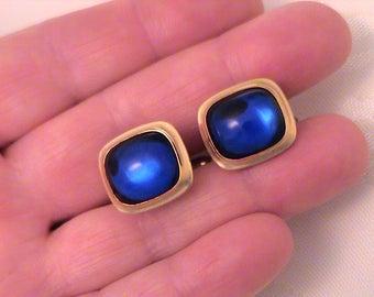 Vintage Correct Quality by KREMENTZ Blue Glass Cufflinks