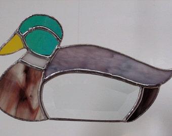 Mallard Duck using prism cut Bevel in Stained Glass, Suncatcher