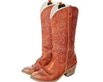 Vintage Dingo Brown Western Boots Sz 7 Women's