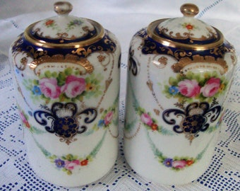 ANTIQUE Hand Painted Noritake DRESSING TABLE Jars Beaded And Jewelled