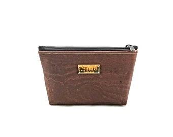"""9"""" x 5"""" - Brown Cork Gadget Bag - zipper pouch - Bag organizer"""