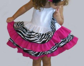 Custom Boutique Ruffled White, Zebra/Hot Pink Halter Dress, Sundress, with Matching Zebra/Hot Pink Headband.  Baby, Toddler, and Girl Sizes.