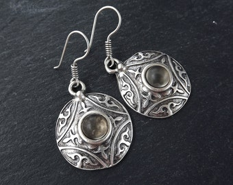 Tribal Dome Ethnic Fleur Silver Earrings with Smoky Beige Glass Stone - Authentic Turkish Style