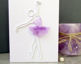 Ballerina Card, Ballet Dancer Quilling Card, Blank Card, Quilling Ballerina Silhouette Card, Dance teacher card