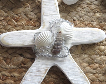 Starfish- Coastal Ornament or Favor. Wedding, Shower or Party Favors Made from Reclaimed Wood