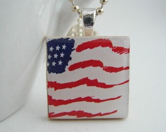 Stars and Stripes Wooden Tile Pendant with Free Necklace