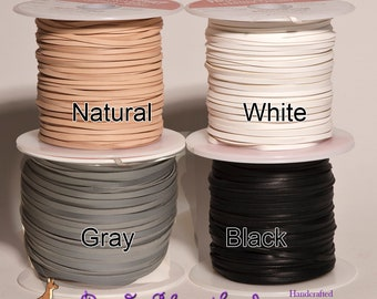 3mm Kangaroo Leather lace WHITE, BLACK, Gray or Natural sold by the yard