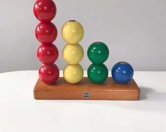 Mid Century Escor 10 Ball Wooden Counting Abacus
