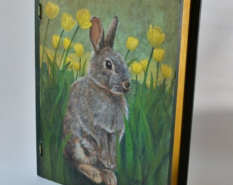 "Hand painted wooden book box ""Rabbit in Tulip Field"""