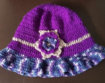 Woolen Hat with flower  in Purple