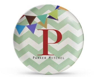 Personalized Plate, Melamine Chevron Plate, Personalized Children's Monogram Banner Plate
