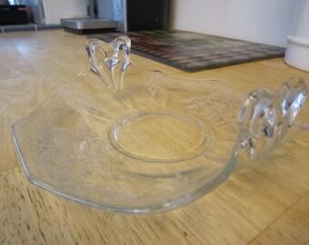Fostoria June Design Crystal Bon Bon Handled Tray