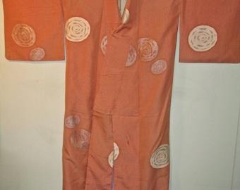 vintage Japanese silk kimono apricot+tiny woven flowers+metallic spiral galaxies