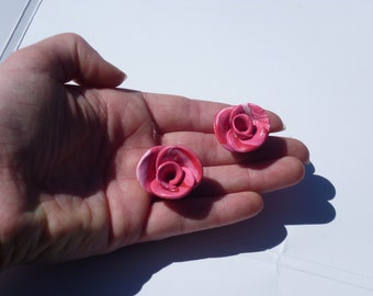 Polymer clay rose cabochons-set of 2-PINK SET