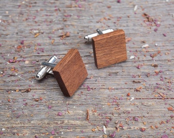 Wooden Cufflinks, Square mahogany wood cufflinks, Wedding Cufflinks groomsmen set of 4-6-8-10, monogrammed, engraving, boyfriend gift