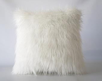 Mongolian Faux Fur Pillow Cover, off white faux fur pillow cover, faux fur, off white pillow cover, Mongolian fur, fur pillow cover