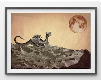 Gothic Art, Mixed Media Collage Print, The Dragon and the Moon, Halloween