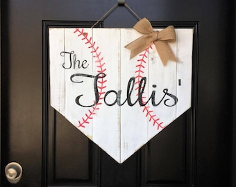 Home Plate Pallet Door Hanger • Distressed Baseball Door Hanger • Rustic Personalized Door Hanger