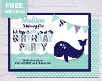 Birthday Party Invitations, Whale Birthday Party, Birthday Party Invite, Nautical Birthday Invitations, Birthday Invitations, BP1016
