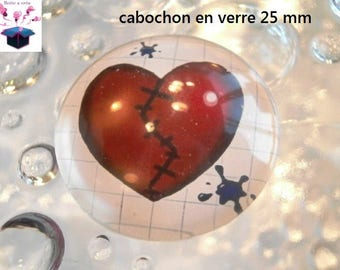 1 cabochon clear 25 mm heart theme