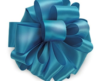 """5yds x 1-1/2"""" TURQUOISE BLUE Double Faced SATIN Ribbon Woven Edge (Free Shipping!)"""
