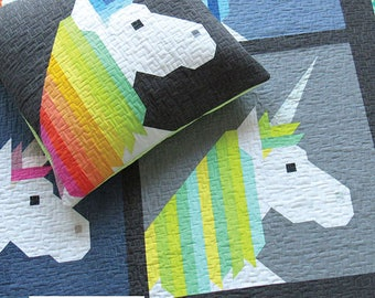 Lisa the Unicorn Elizabeth Hartman Quilt Modern Pattern 3 Sizes