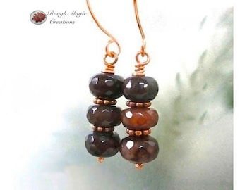 Dark Red Gemstone Earrings, Agate Stone, Casual Stacked Dangles, Copper Ear Wires, Sophisitated Gift for Women, Present for Wife E395