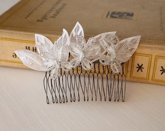 Butterflies Hair Comb, Beaded Bridal Comb, Wedding Hair Comb, French Beaded Comb, Butterflies Hair Piece, Beaded Hair Comb, Bridal Hair Comb