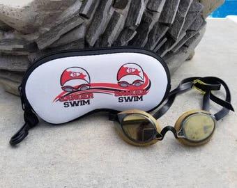 ONE CUSTOM SWIM goggle sunglass case, swim gift, swim bag tag, custom case, swim team gift