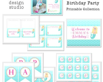 PRINTABLE Full Collection - Mermaid Party Collection - Dandelion Design Studio
