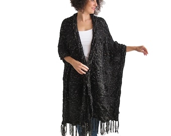 Over Size Plus Size Tweed Black Hand Knitted Blanket Poncho by Afra