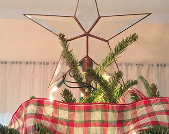 Beveled Glass Christmas Tree Topper, Simple Five Point Rustic Looking Star