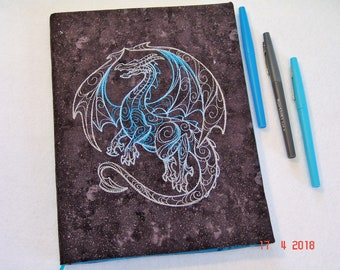 Silver and Blue Dragon Embroidered Composition Notebook Cover