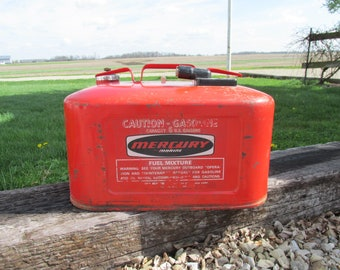 Vintage Mercury Marine Six Gallon Fuel Can/Outboard Fuel Can/Boating Decor