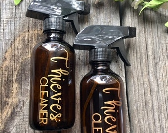 8 oz amber glass Thieves Cleaner Spray Bottle with vinyl decal