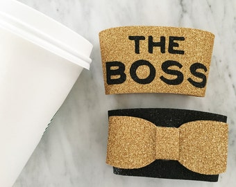 gold glitter coffee cozy, the boss mug, bow coffee cozy, all glitter coffee sleeve, gold glitter bow, pick any 2 styles, any glitter colors
