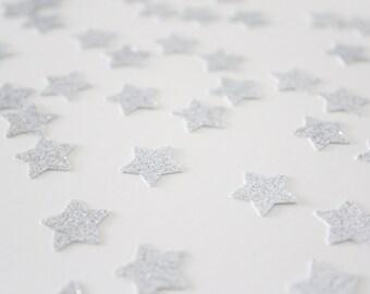 Silver Glitter Star Confetti/ 5/8 Inch Small / 200 Count/ Party Decoration/ Birthday/ Wedding/ Bridal Shower/ Baby Shower/ Table Confetti