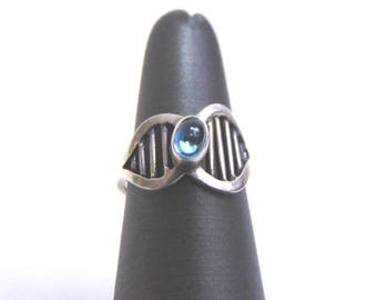 Womens Sterling Silver .925 Ring w/ Topaz Colored Stone 3.6g #E3680