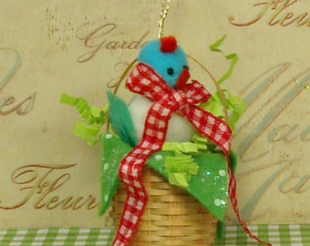 Easter basket ornament with vintage Easter chick Spring decor Easter ornament blue red green vintage retroinspired party decor