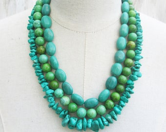 Layered Triple Strand Green Turquoise Necklace