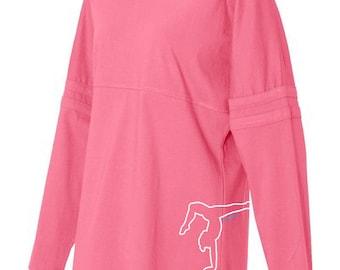 Gymnastics Pom Pom Jersey Top - Hot Pink, Black, and Grey Long-Sleeved Women's Gymnast T-Shirt
