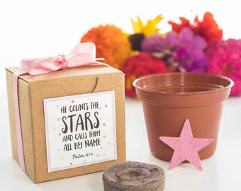 Star Flower, Herb, or Tree Seed Growing Kits for Boy or Girl Baptisms & Christenings - Customizable Religious Gifts, Christian Party Favors