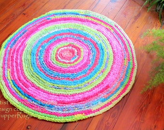"Rag Rug - Easy Order Lilly Pulitzer bedding, ""braided"" rug, crochet rug, the Original Lilly Pulitzer rug, buy the original, not the copycat"