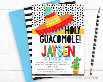 Holy Guacamole Invitation, Taco Invitation, Fiesta Invitation, Mexican Invitation, Taco Party, Taco Invite, Tacos, Cinco De Mayo | 672