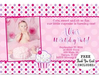 Lil Cupcake Invitation, Lil Cupcake Invites, Cupcake 1st Birthday, First Birthday, Cupcake Party, Pink and Purple Birthday Party