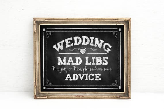 Chalkboard Wedding Sign | PRINTED Wedding Mad Libs, Mad Libs sign, mad libs wedding, wedding advice sign, wedding Signage, Wedding Decor
