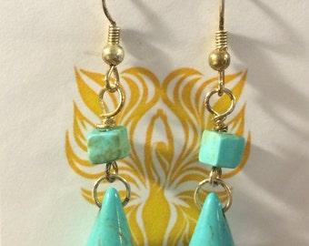 Turquoise Howlite Tear Drop Earrings